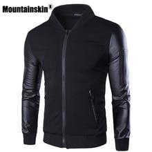 Mountainskin Курточка бомбер Для мужчин пальто Лоскутная Кожа Для мужчин верхняя одежда осень Slim Fit 2018 бренд мужской Мото-куртки SA003