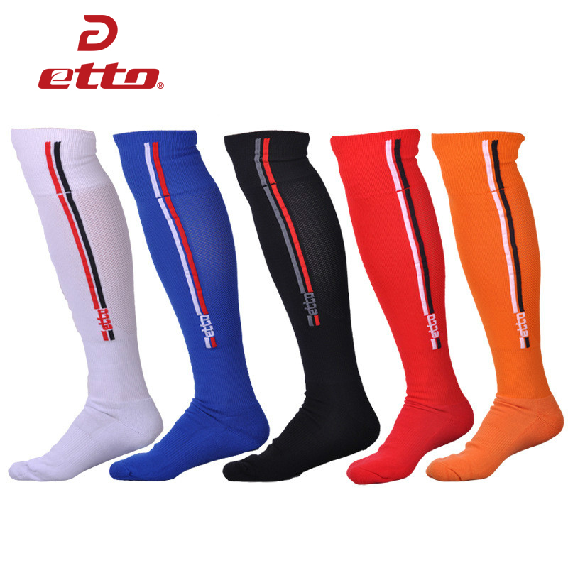 Etto Knee High Non-slip Breathable Professional Soccer Socks Men Cotton Deodorant Long Football Sox Cycling Sports Hose HEQ003