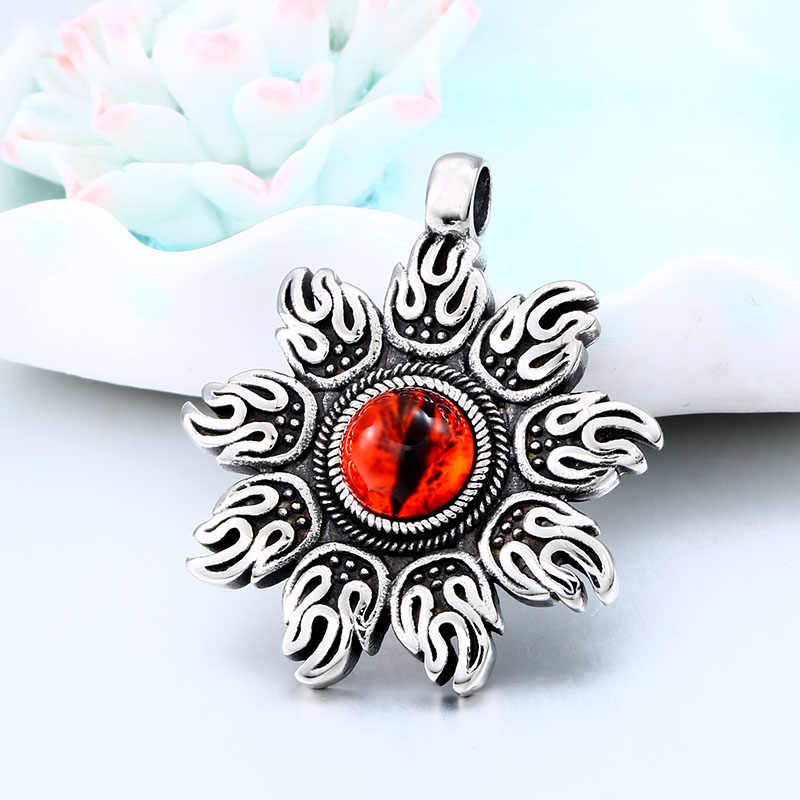 BEIER Stainless steel Fire with Art red Glass Round Pendant Necklace Punk rock chain for man women jewelry Boys gift BP8-271