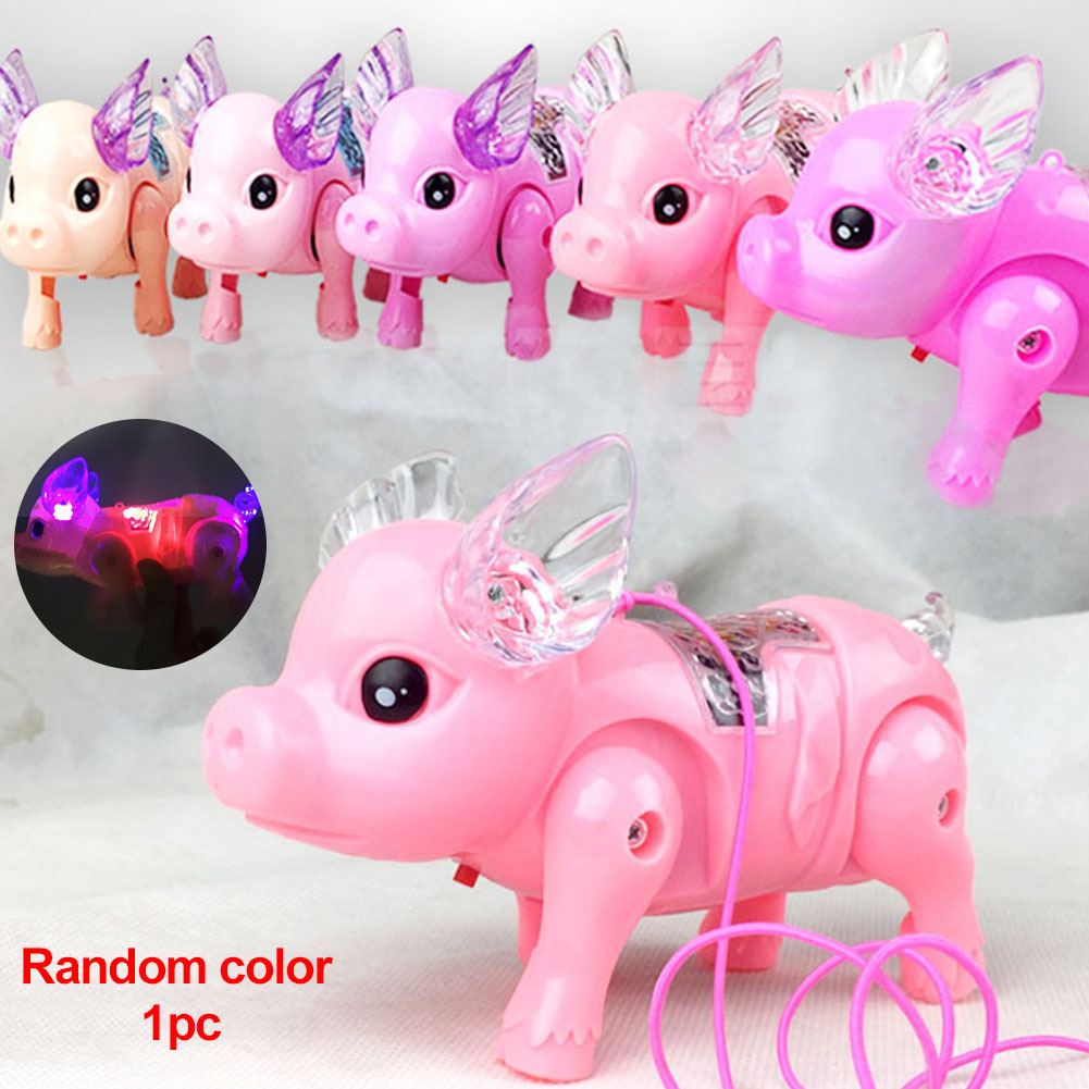 Interactive Funny Glow Unique Plastic Flashing With Rope Electronic Walking Pig Development Musical Educational Led Pet Toy