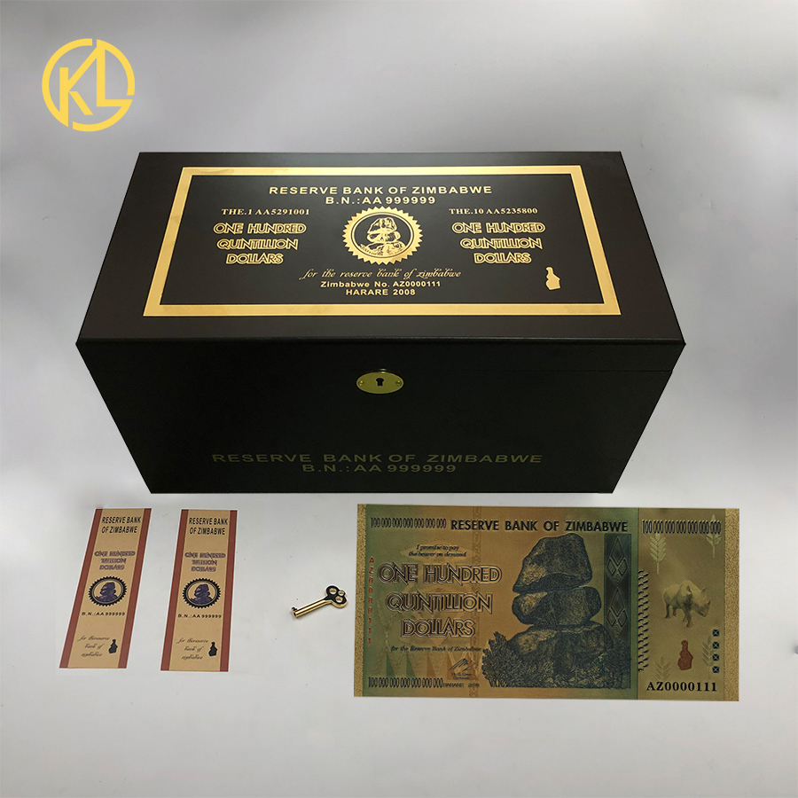 HOT 1200pcs Rhinoceros one hundred Quintillion Dollars Zimbabwe 24K Gold Banknote with UV Light and 120COA