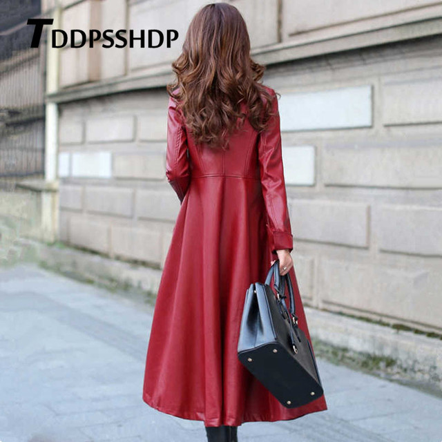 Black and Red Color Long Spring Thick Women Leather Coat Long Sleeve Waist Strap Pocket Female Jacket