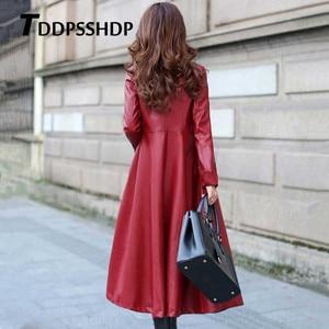 Image 4 - Chaqueta de cuero gruesa de manga larga para mujer, chaqueta femenina con bolsillos y correa en la cintura, Color negro y rojo