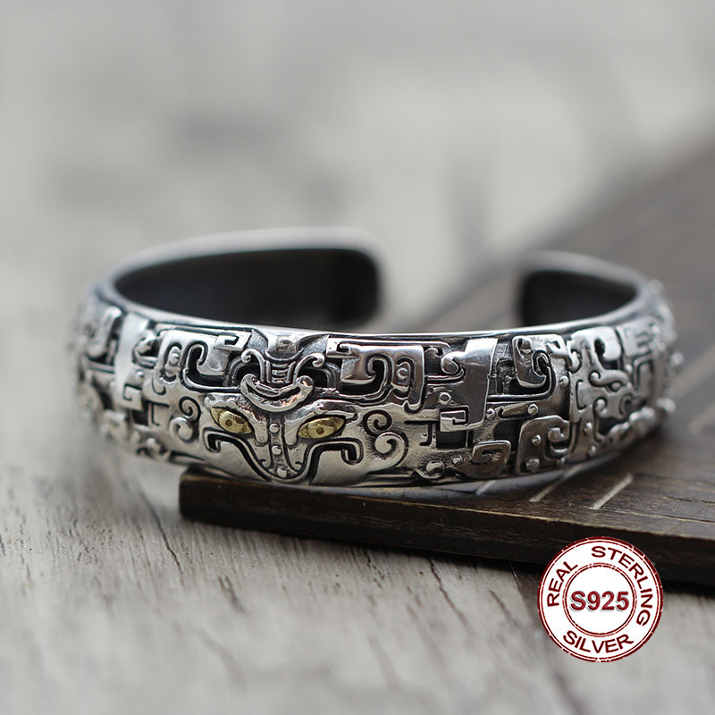 S925 Sterling Silver Bangles Simple and generous retro Personality couple style Unique to create carved animal animal modeling
