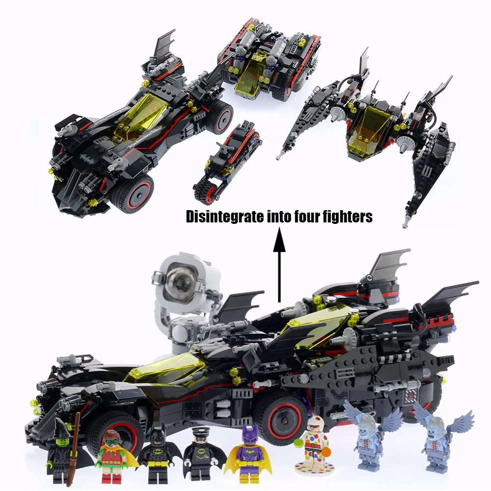 BATMAN MOVIE The Ultimate Batmobile Building Kit 07077 1496pcs superheroes blocks 07034 for children toys gift Compatible 70917