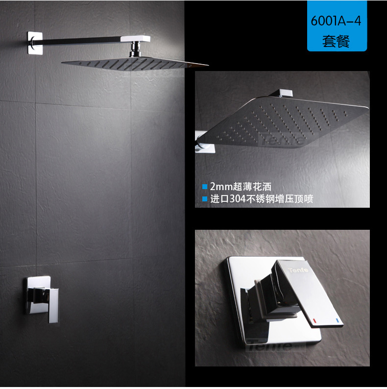 Concealed Shower Set Concealed Shower Faucets 8 inch Ultra Thin Rainfall Square Shower Head Bath Tap
