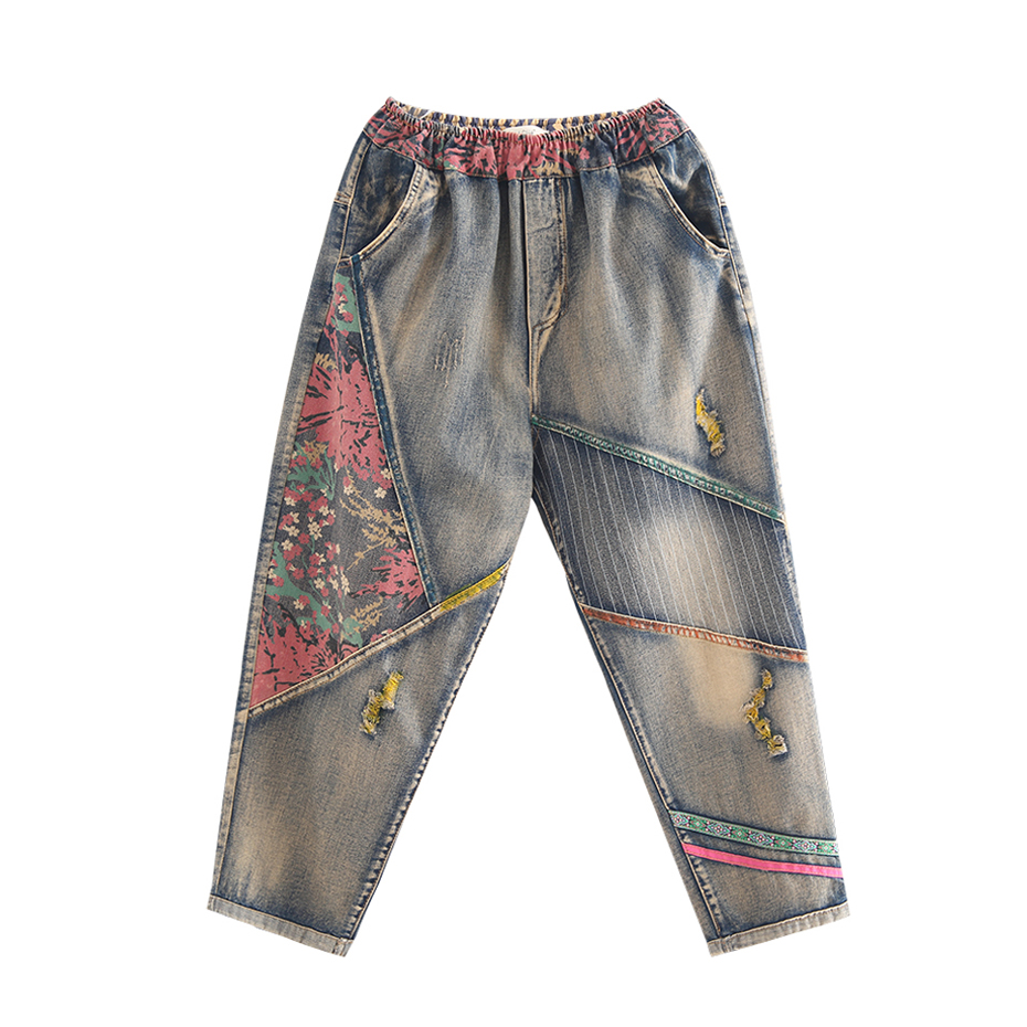 Women Straight   Jeans   Denim Pants Trousers for Ladies Big Long Loose Plus Size Distressed Tie Dye Floral Vintage Casual Fashion
