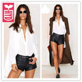 HYD 2017 Womens single-breasted Formal back split blouse ladys white Loose dovetail shirts tees tops,Long sleeve