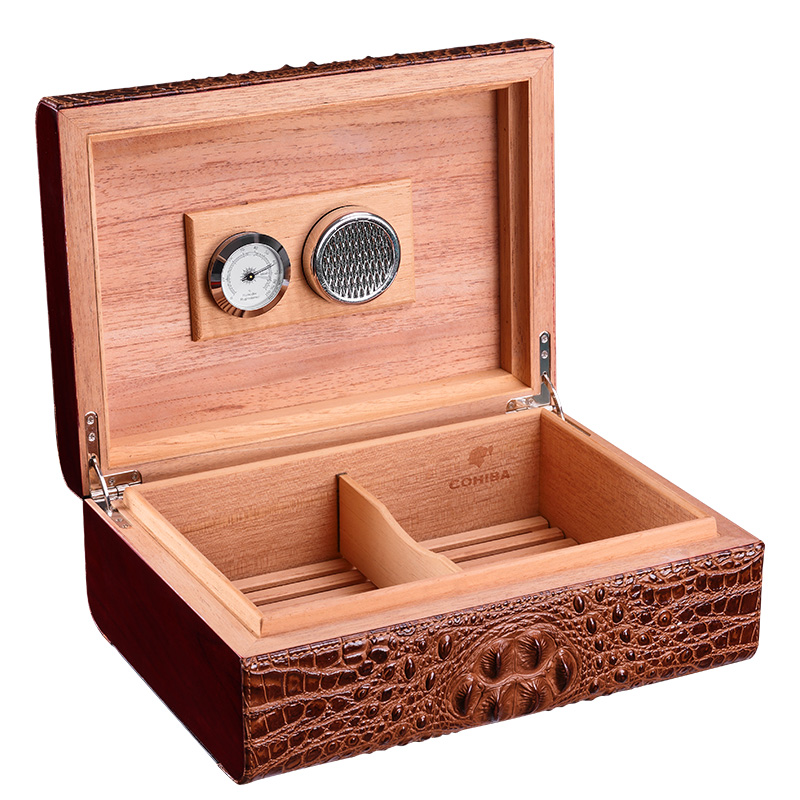 Cohiba cigar humidor Leather cigar humidor crocodile grain hold 50 pcs Cigar Accessories in Storage Boxes Bins from Home Garden