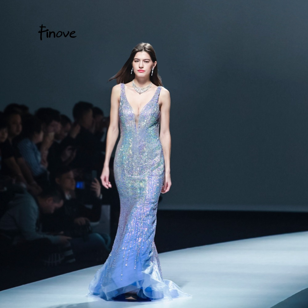 Finove Crystals Evening Dress 2019 Reflective Dress Long Sexy Backless See Through Floor length Women s