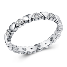 Silver Stackable Ring Love Heart CZ Finger Brand Rings for Women Wedding Anniversary Jewelry Anel boosbiy 2019 hot sale 52 styles stackable party finger ring for women original brand heart crown ring engagement jewelry