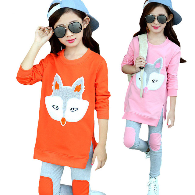 2017 New Tracksuit Children Clothing Outfit Baby Girl Clothes Girls Sport Suit Shirt+Pants 2pcs Cartoon Fox Costume For Kids