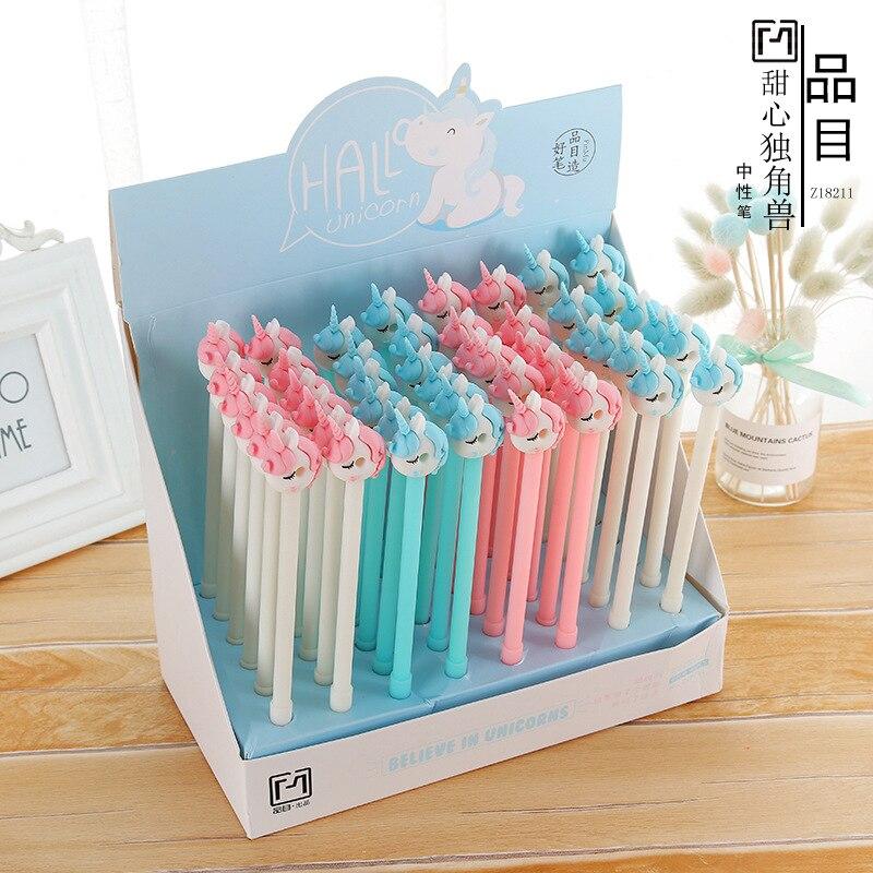 48 pcs Gel Pens Sweetheart unicorn black colored gel inkpens for writing Cute stationery office school