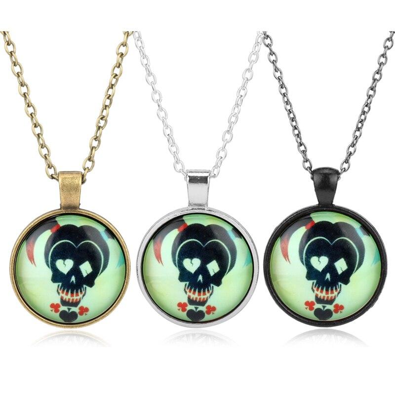 Fahion Jewelry Accessories Necklace Glass Pendant Necklace Suicide Squad Clown Choker Pendant Necklace for Women Girl Necklace-3