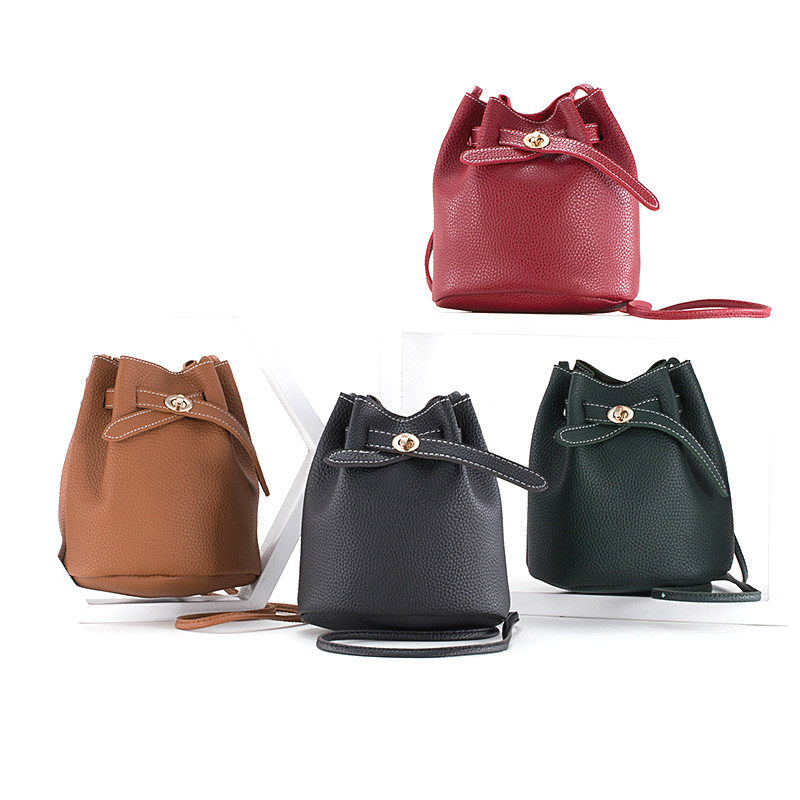 Pu shoulder bag Messenger trend ladies PU Leather Crossbody casual bucket purses and handbags