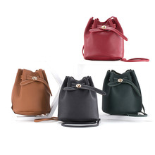 Pu shoulder bag Messenger bag trend ladies PU Leather Crossbody casual bucket purses and handbags