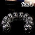 Beier new store 316L stainless steel bracelet skull punk men bracelet Fashion Jewelry