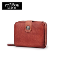 Fashion Vintage Original Design Brand Women Wallet Genuine Leather Handmade Zipper Hasp Open Design Ladies Clutch