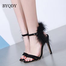 BYQDY 2018 New Fashion Summer Women Sandals High Heels Sexy Shoes Flock Black Blue For Wedding Shoes Good Quality Party Sandals new fashion italian shoes with matching bags for party african shoes and bag set good quality shoes for lady emf7213 5