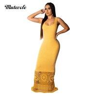 Mutevole Fashion Women Summer Sleeveless Long Sundress Hollow Out Patchwork Maxi Party Dress Casual Floor Length Sheath Dress