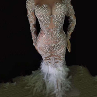 Жемчужное перо Стразы Платье женское вечернее платье с длинным рукавом выпускное роскошное перспективное платье певица платья DJ342