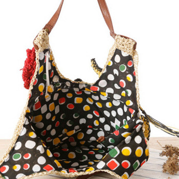 Summer Women Rattan Tiger Straw Bags Tote Large Ladies Beach Handbag Wicker Travel Flower Crochet Shopping Bag Bolso Paja W3 5