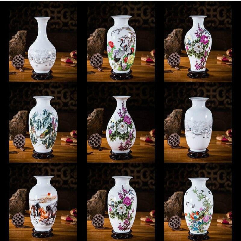 Jingdezhen vaso de cerâmica ornamentos estilo chinês moderno casa mesa decoração porcelana e $|Estatuetas e miniaturas|   -