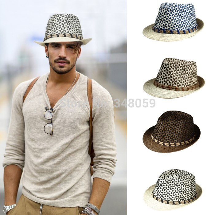 Men Straw Fedora cap Trilby Chapeu Beach sun hat sombrero cowboy Sunhat  Bucket Travel handmade band Summer panama hat Men a723cd431c7