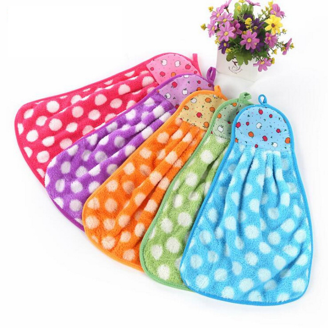 Hoomall Cartoon Coral Velvet Towel Candy Color Bathroom Kitchen Hanging Towels Absorbent Cloth Dishcloths Kitchen Accessories