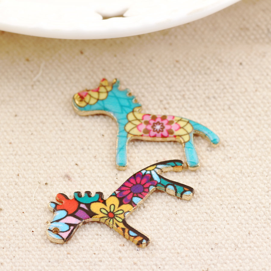 Free Shipping DIY Jewelry Findings 30*21MM Floral Animal Horse Pendant Charm Craft Gold Tone Enamel Alloy Bracelet Charm Craft