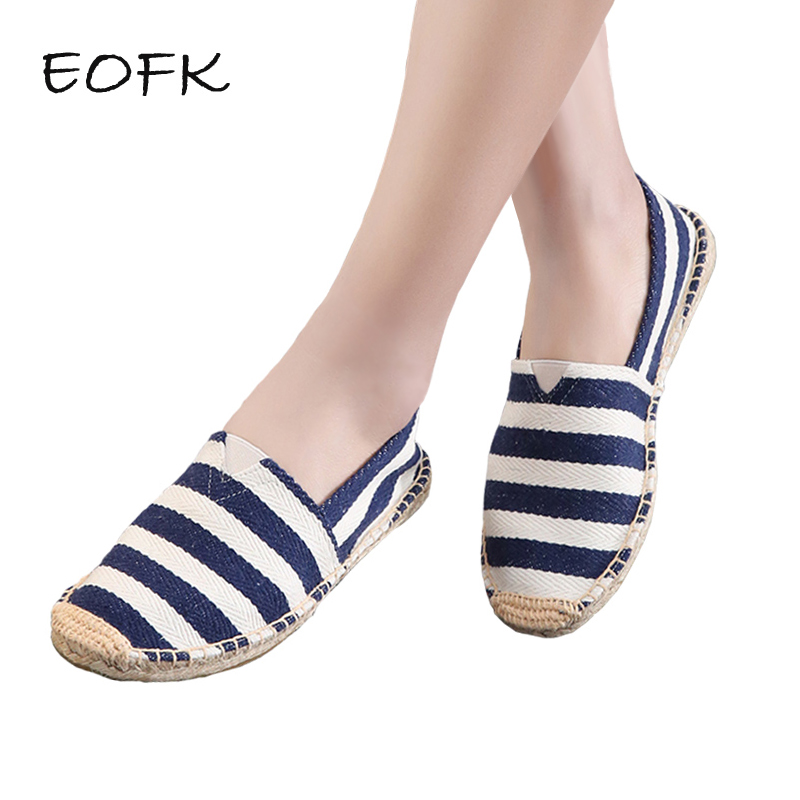 EOFK 2018 Women Canvas Shoes Woman Causal Gingham Espadrille Comfortable Slip On Fabric Flats Shoes Women Big Size embroidered letter striped espadrille flats
