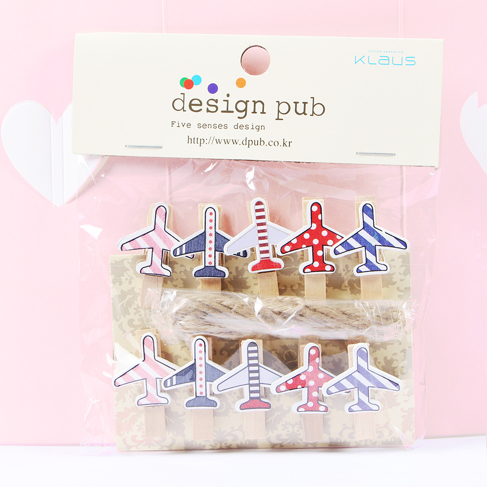 10 Pcs/Lot Cute Cartoon Airplane Wooden Clip Photo Paper Clothespin Craft Clips Party Decoration Clip With Hemp Rope