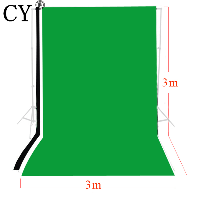 3 pcs Photo Studio 3 m x 3 m Photo Studio Solide Toile de Fond De mousseline Kits Fond Vert Noir Blanc Toile de Fond Ensemble Chromakey PSB6B