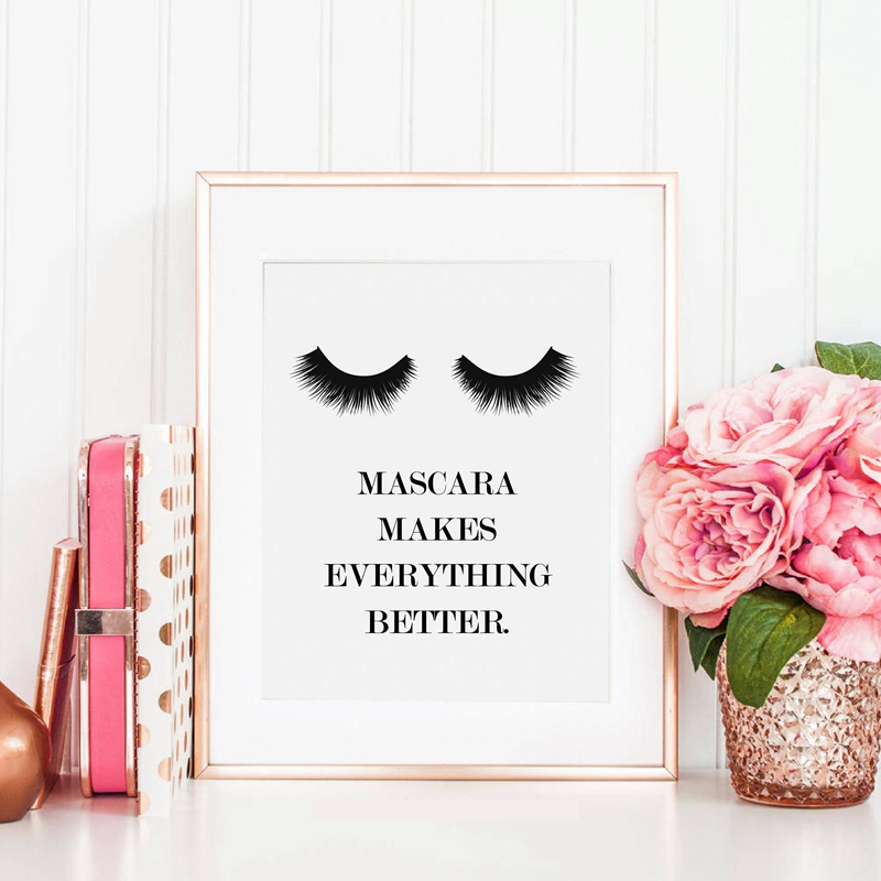 Wake Up And Makeup Quote Canvas Art Prints Beauty Decor Painting Mascara Poster S Room In Calligraphy From Home