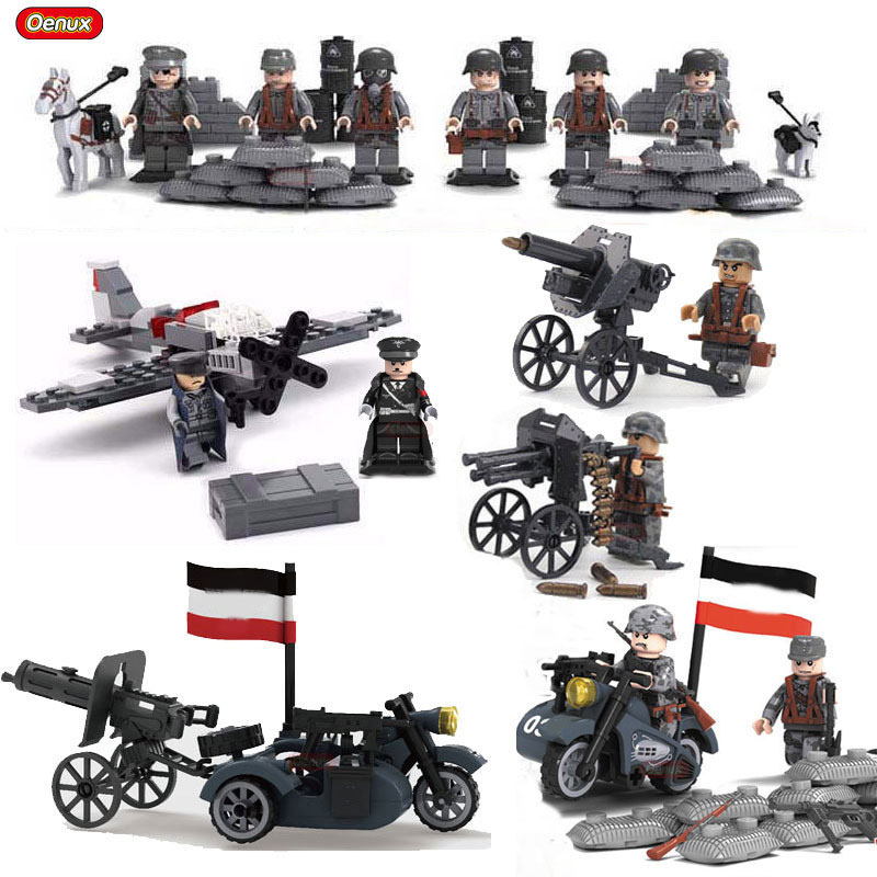 Oenux WW2 Blitzkrieg Military Army Soldiers With Weapons Model Building Block Military Brick Brinquedos Educational Toy For Kids oenux newest swat city policeman mini dolls building block set modern military armed forces soldiers brick toy for kids gift