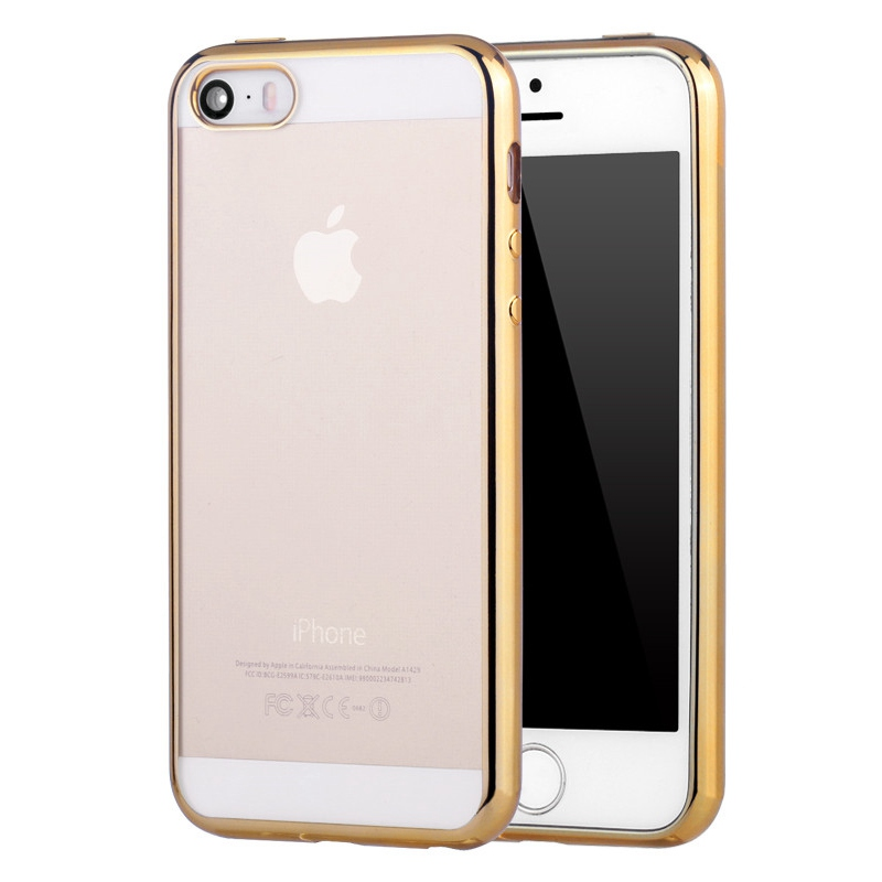 Luxury Rose Gold Edge Transparent Clear TPU Soft Case for