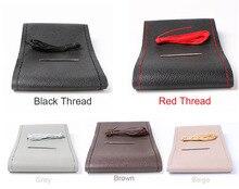 Cubiertas de volante DIY/trenza de cuero de fibra suave en el volante del coche con aguja e hilo accesorios de Interior