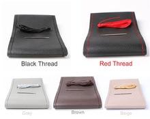 DIY Stuurwiel Covers/Soft Fiber Leather braid op de stuurwiel van Auto Met Naald en Draad interieur accessoires