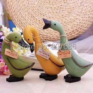 2 Sets 6 Pieces Vintage Painted Hand Carved Wooden 3 Duck Figure Wood Gift Craft