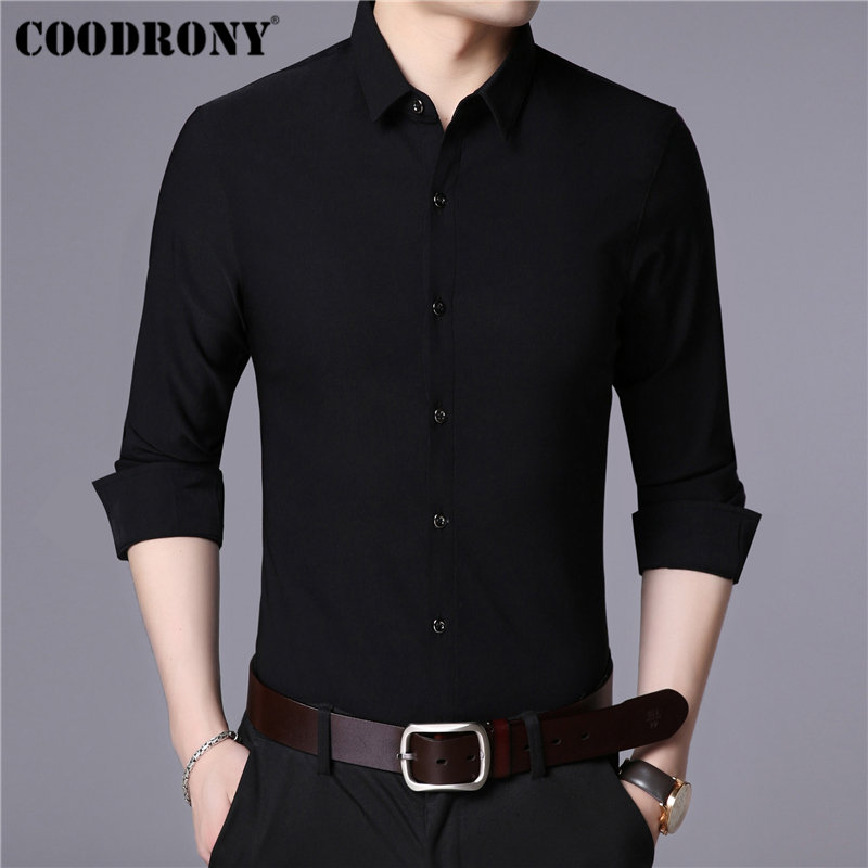 COODRONY Brand Men Shirt Autumn Solid Color Long Sleeve Shirt Men Business Casual Mens Shirts Soft Cotton Camisa Masculina 96026