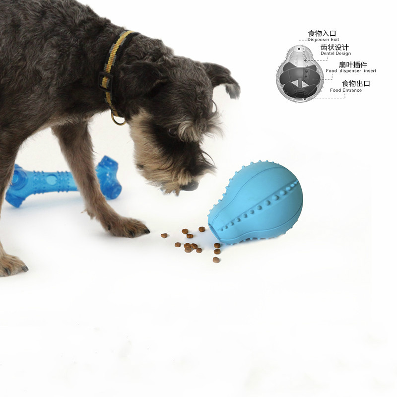 dog Leaking Silica gel ball Toys Puzzle A molar tooth Bite Dog Leaking device Pet Supplies Pear shaped Leaking toys