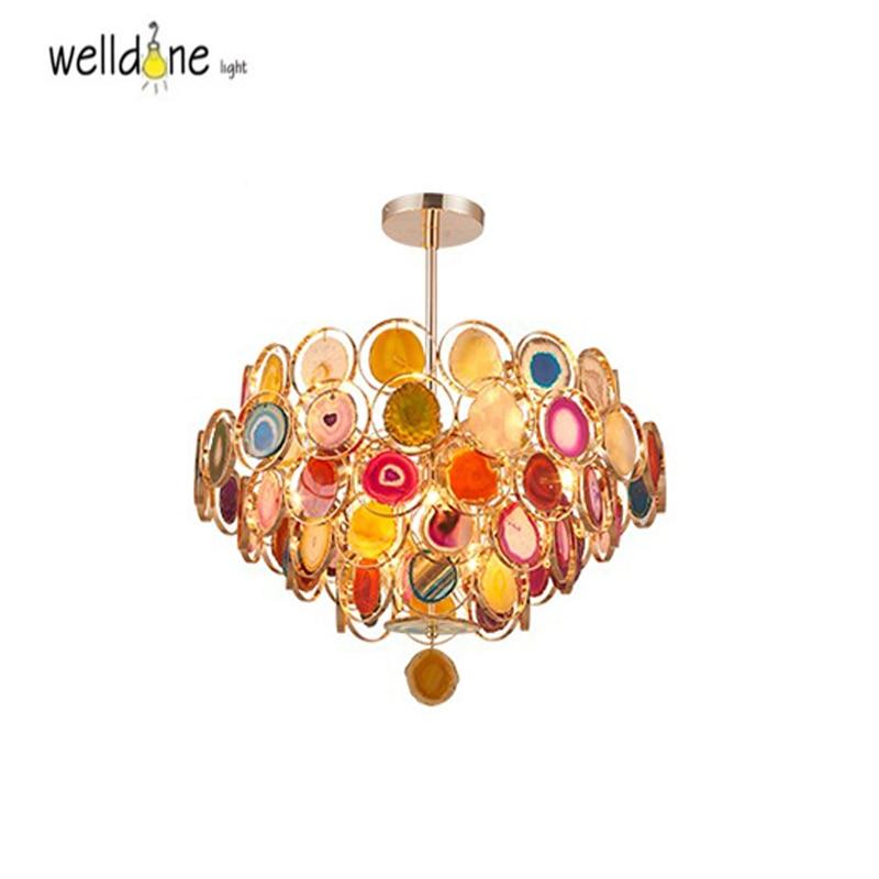 Modern decoration LED chanderlier colorful agate stone chanderlier light G4 bulb luminaire fixture о вере избранные изречения святых отцов