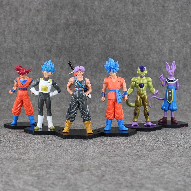6Pcs/Set Dragon Ball Figures Goku Vegeta Frieza Trunks Beerus Model Toys Cool Super Saiyan Battle of Gods Gifts For Kids
