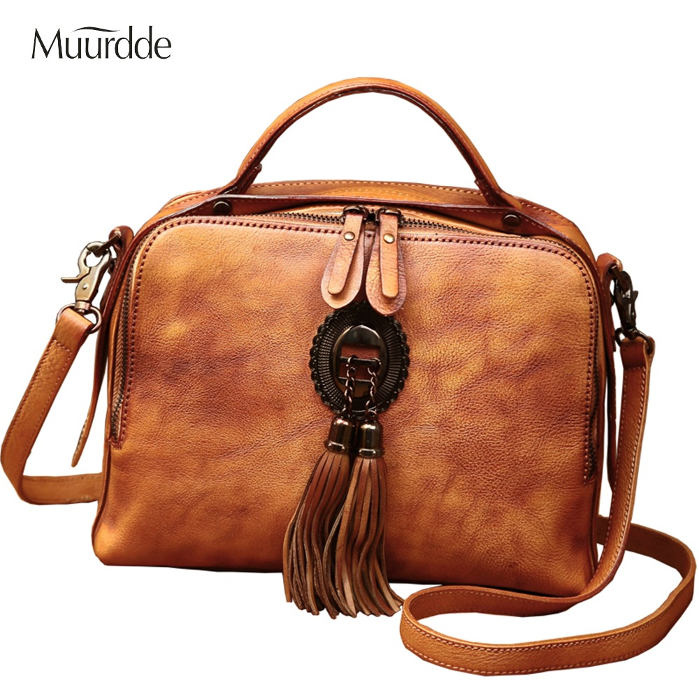 Muurdde Brand 2018 New Women Handbags,Leather Handbag,Trend Tassel Woman Messenger Bag, Elegant Retro Version Shoulder Bag