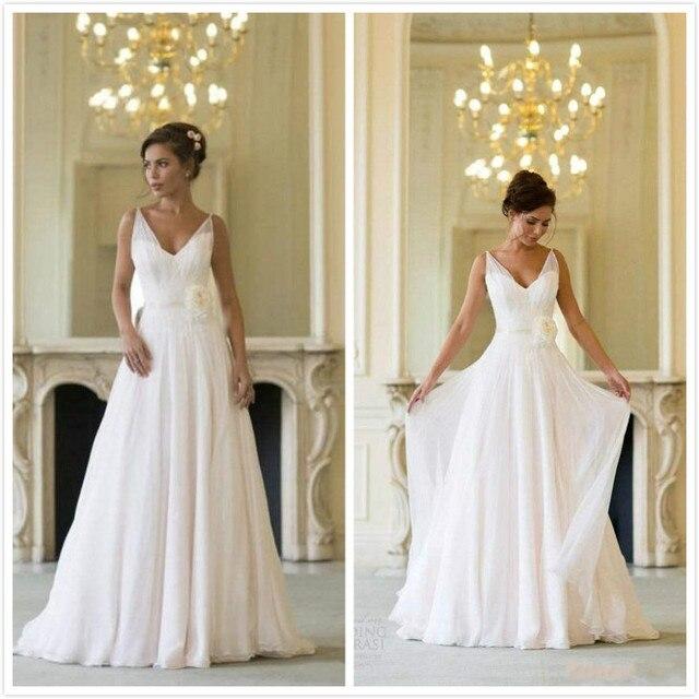 Griechischen Backless Brautkleider V ausschnitt Fließenden Vintage ...