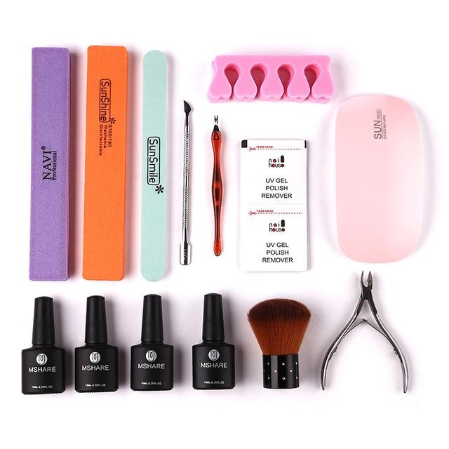 MSHARE 20Pcs Manicure Tools Set Nail Kit 6W Nail Dryer UV LED Lamp ...