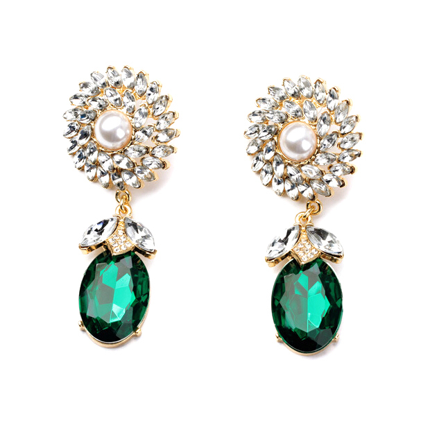 Hot Individual Pearl Arrow Green Stone Drop Earrings Fashion Charm Crystal Jewelry For Women Engagement Party Dress Accessories In From