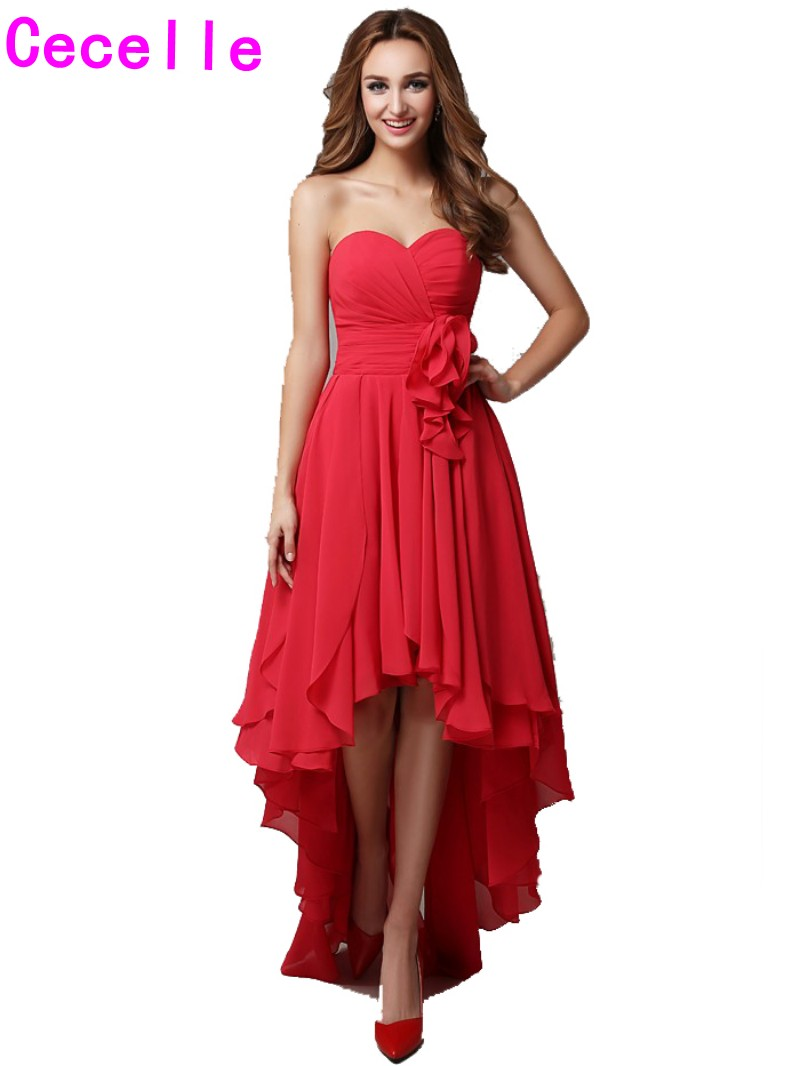 2019 Real Red High Low   Bridesmaid     Dresses   Sweetheart Pleats Chiffon Short Front Long Back Beach Country   Bridesmaid   Robes Custom