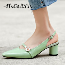 AIKELINYU New Genuine Leather Women Sandals High Quality Middle Heel Round Office Ladies Summer Shoes Woman Green
