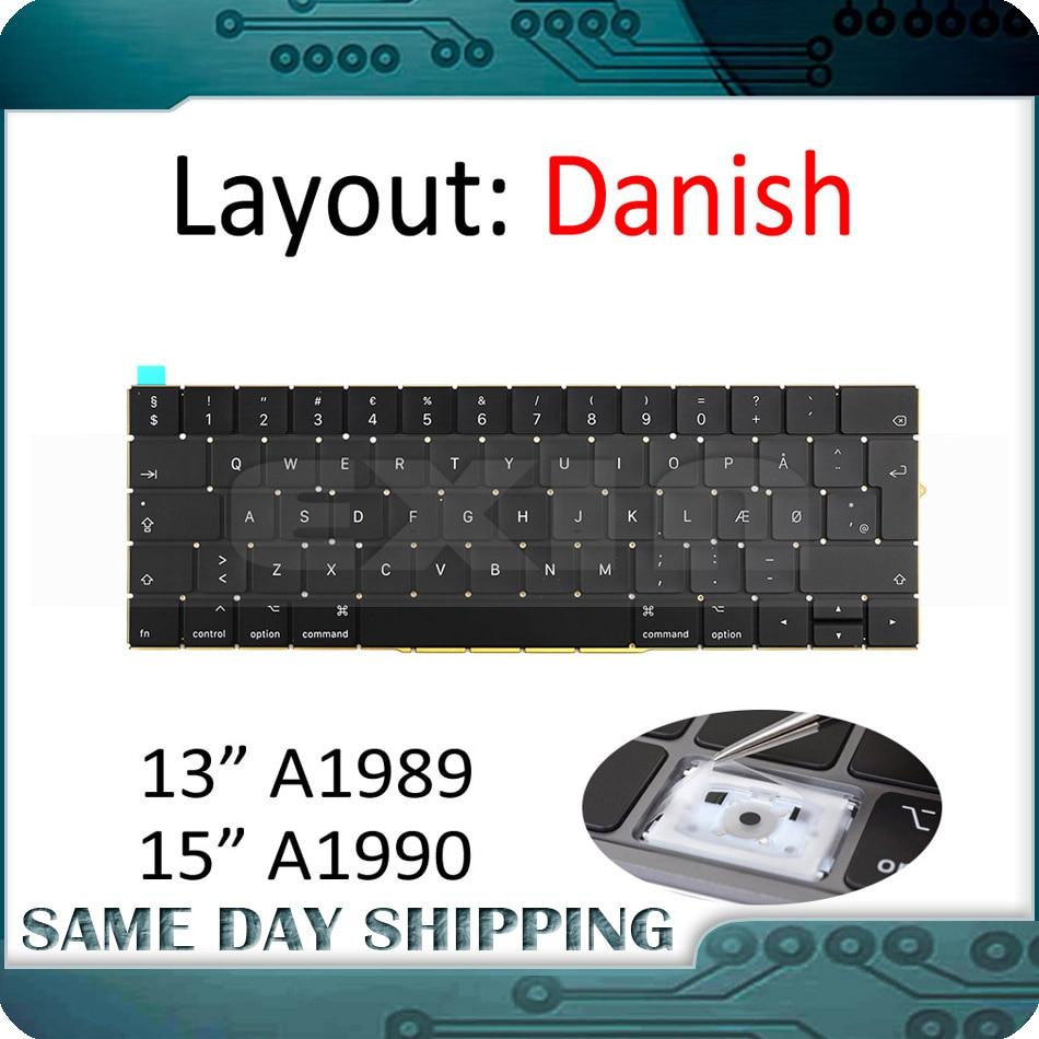 New for MacBook Pro 13 3 Retina A1989 A1990 Keyboard Danish DK Denmark Danmark EU EURO